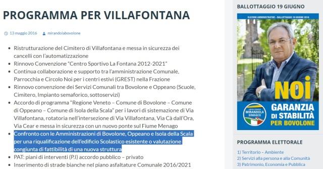 La promessa elettorale per la scuola di Villafontana